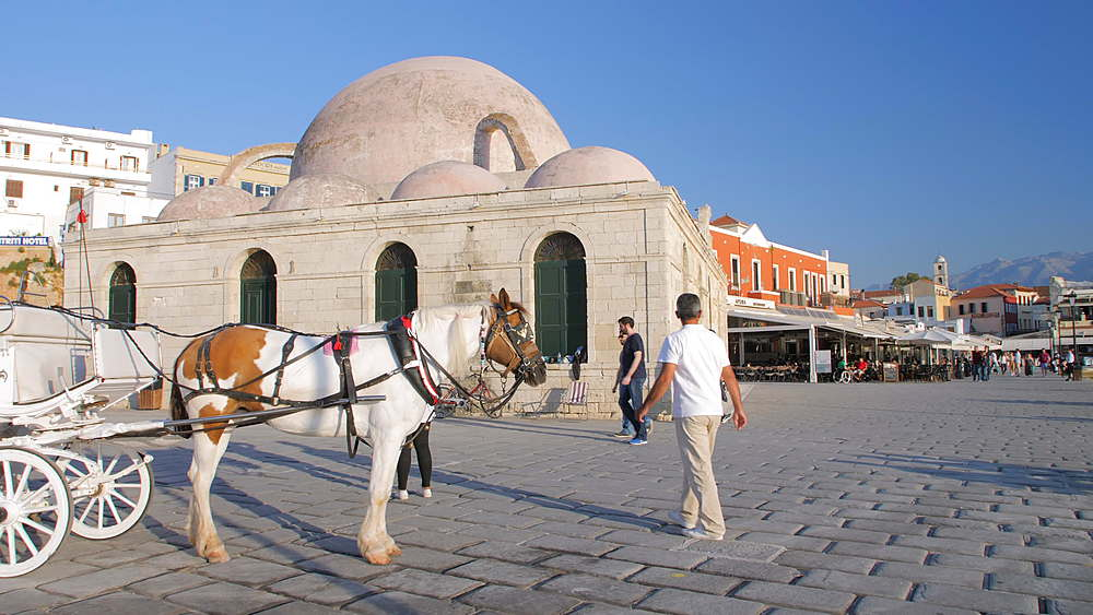 Horse Carriage, Mosque, Venetian Harbour, Chania, Crete, Greece, Europe