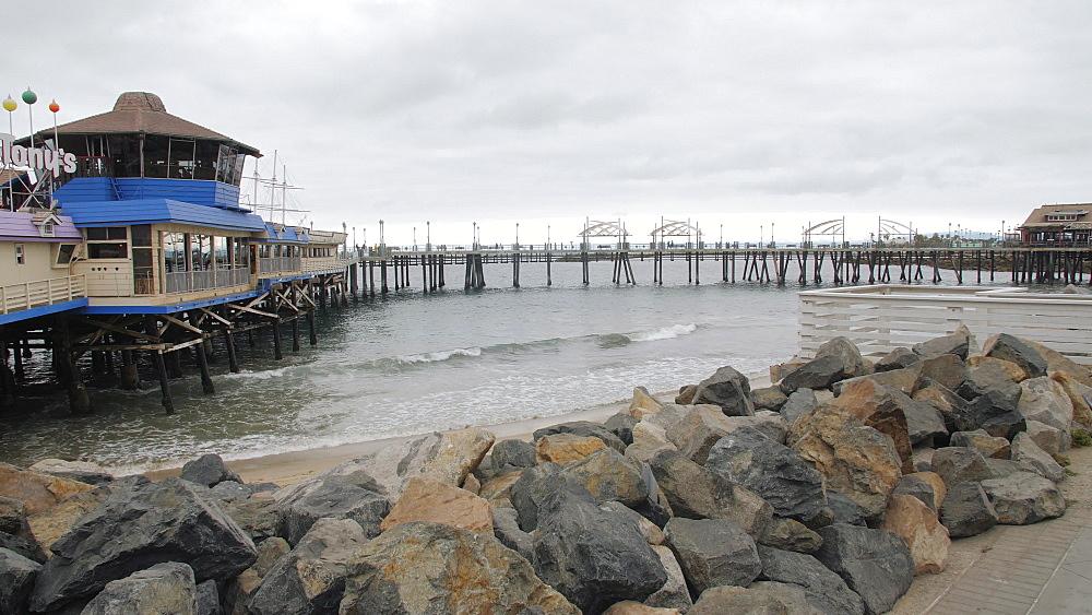 Crane shot of Pier and sea front at Redondo Beach, Los Angeles, LA, California, United States of America, North America - 1276-879
