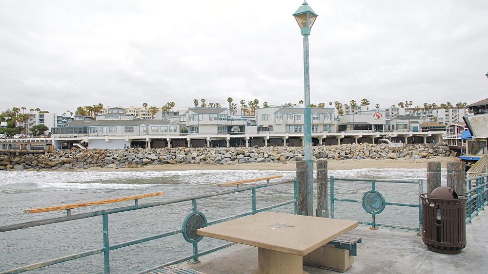 Crane shot of Pier and sea front at Redondo Beach, Los Angeles, LA, California, United States of America, North America - 1276-884