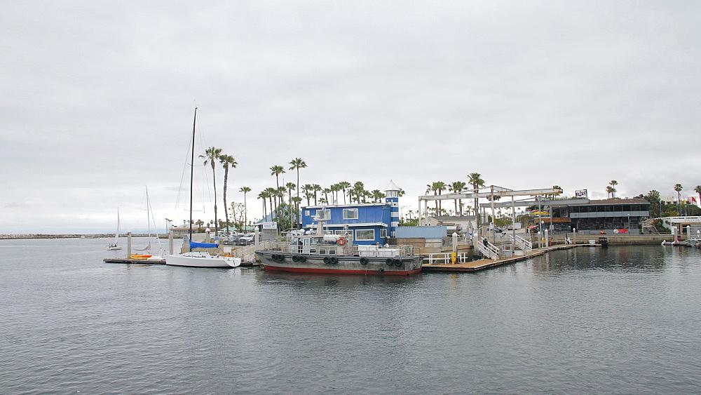 Crane shot of King Harbor, Redondo Beach, Los Angeles, LA, California, United States of America, North America - 1276-890