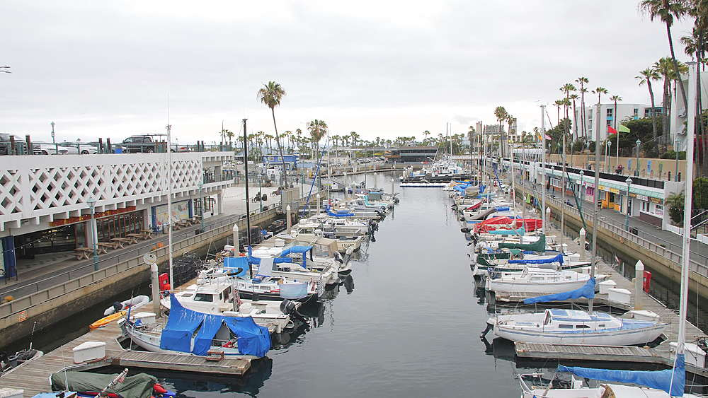 Crane shot of King Harbor, Redondo Beach, Los Angeles, LA, California, United States of America, North America - 1276-892