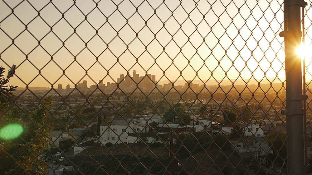 View of Downtown Los Angeles from suburbs at sunset, Los Angeles, LA, California, United States of America, North America - 1276-897