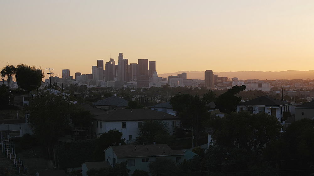 View of Downtown Los Angeles from suburbs at sunset, Los Angeles, LA, California, United States of America, North America - 1276-898