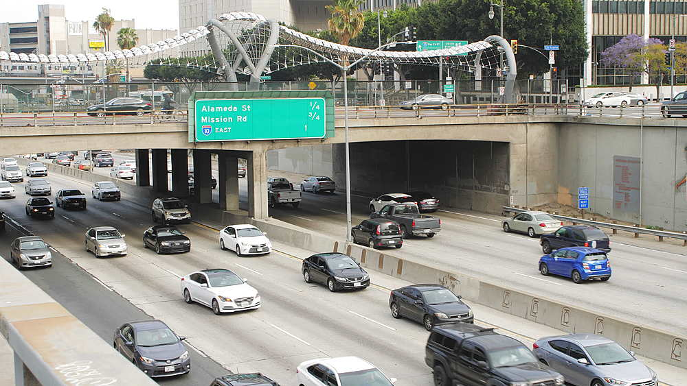 Traffic on Highway 101 in Downtown near City Hall, Los Angeles, LA, California, United States of America, North America