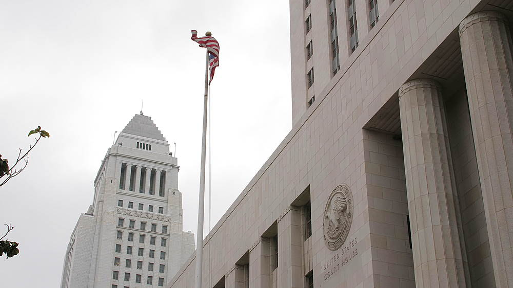 Los Angeles City Hall and Court House and American Flag, Los Angeles, LA, California, United States of America, North America - 1276-903