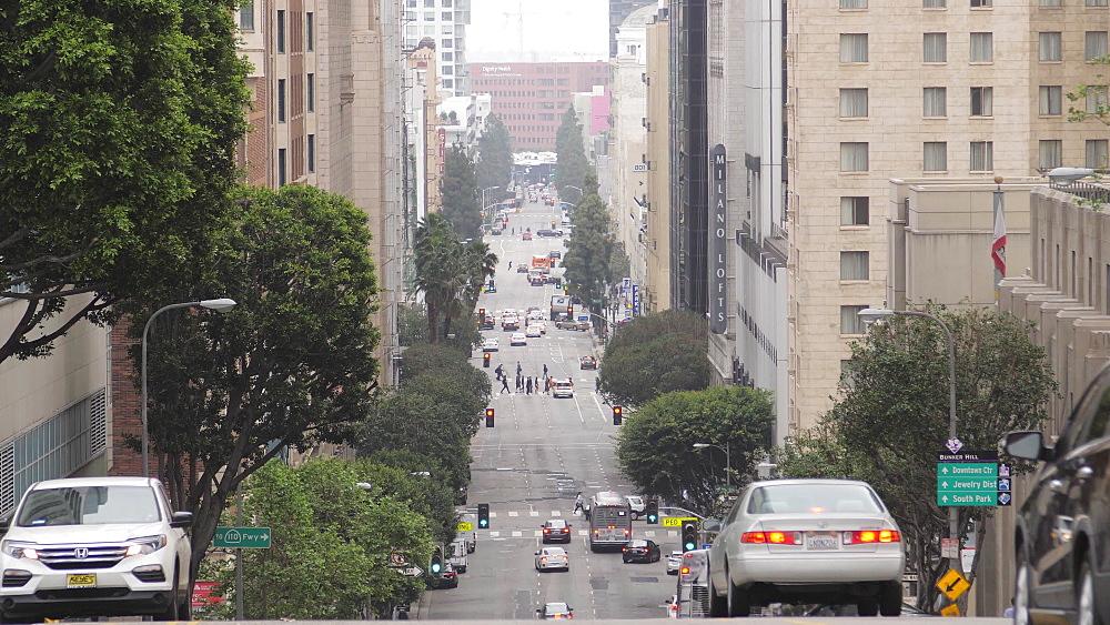 Traffic on Grand Avenue, Downtown, Los Angeles, LA, California, United States of America, North America - 1276-912