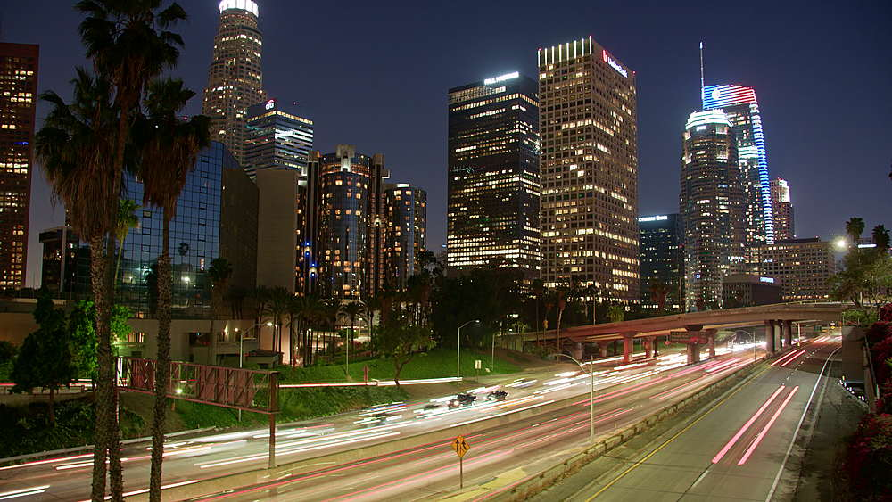 Time-Lapse of Downtown skyline and Harbour Freeway at dusk, Los Angeles, LA, California, United States of America, North America - 1276-915