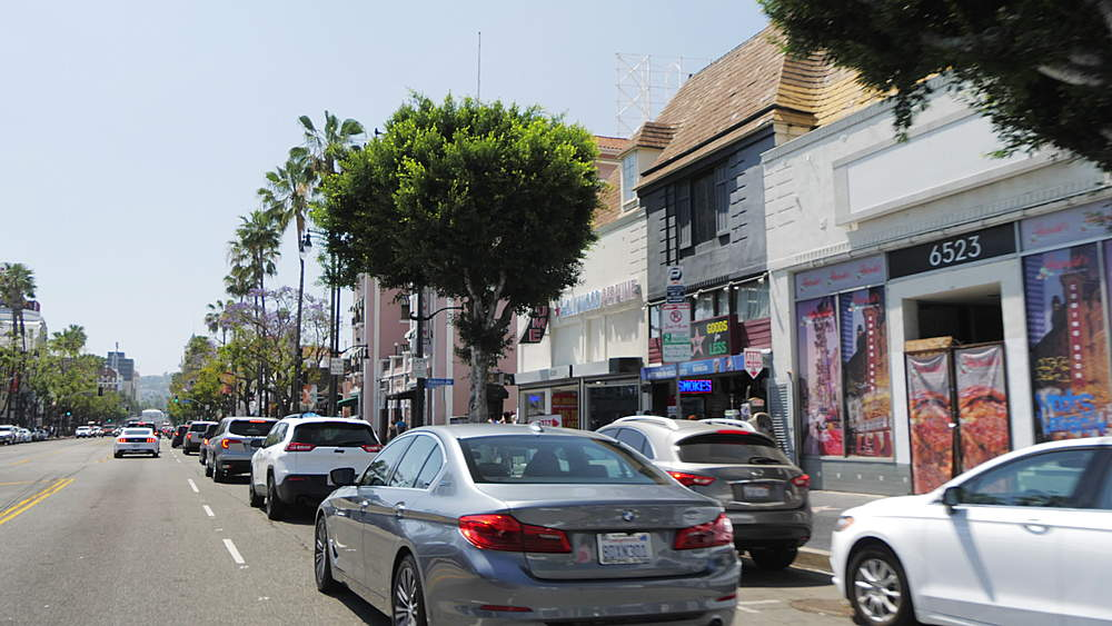 Travelling on Hollywood Boulevard with car, Hollywood, Los Angeles, LA, California, United States of America, North America - 1276-918