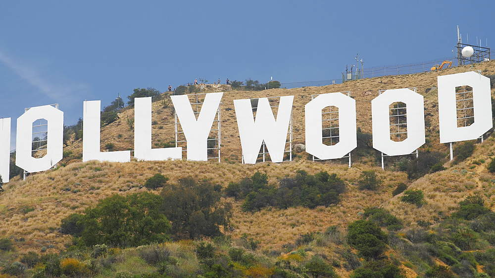 Tracking shot of Hollywood Boulevard sign, Hollywood, Los Angeles, LA, California, United States of America, North America - 1276-934