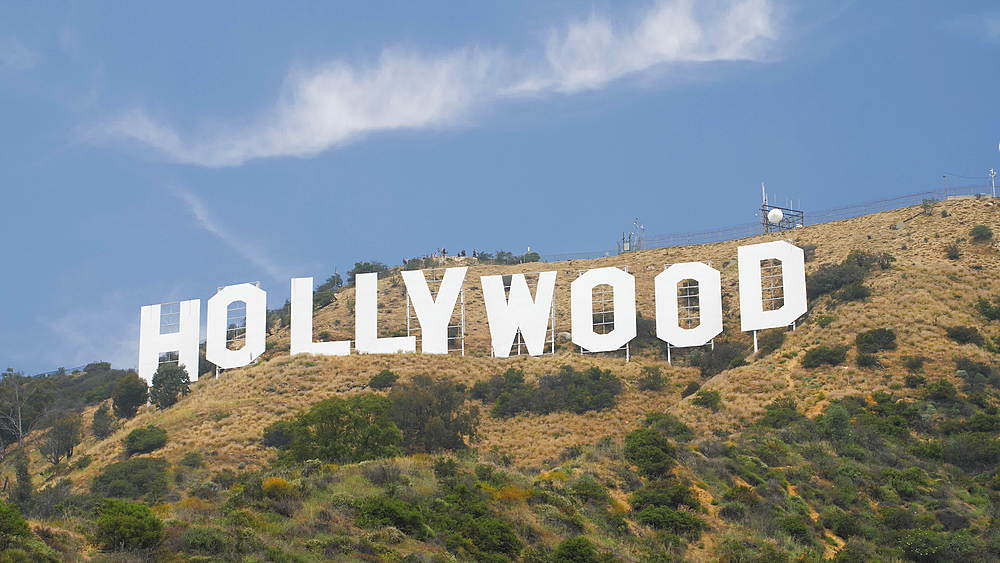 Tracking shot of Hollywood Boulevard sign, Hollywood, Los Angeles, LA, California, United States of America, North America - 1276-935