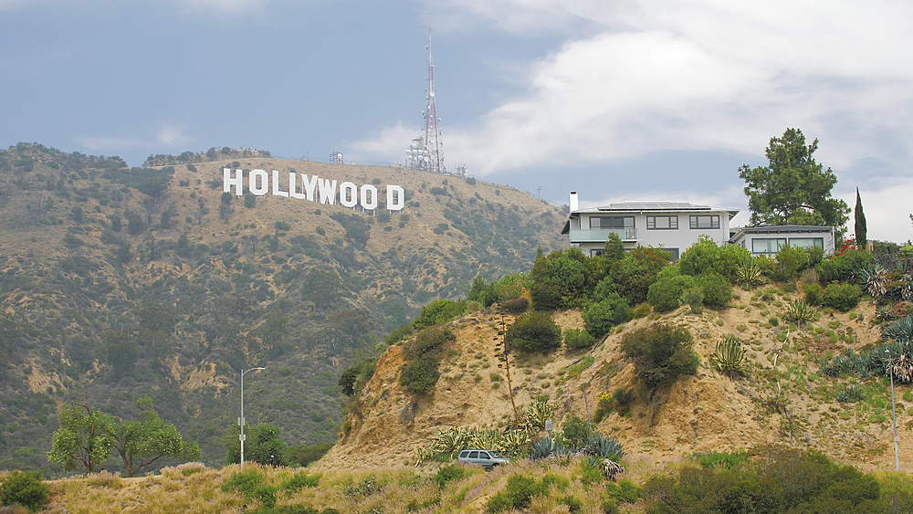 Tracking shot of Hollywood Boulevard sign, Hollywood, Los Angeles, LA, California, United States of America, North America - 1276-936