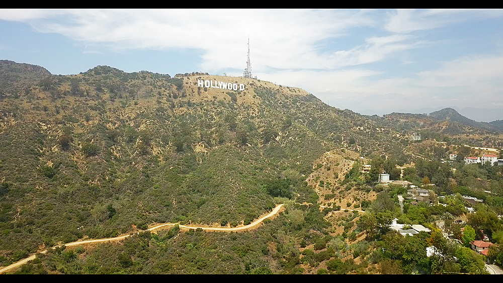 Areal shot of Hollywood sign in Hollywood Hills, Hollywood, Los Angeles, LA, California, United States of America, North America - 1276-938