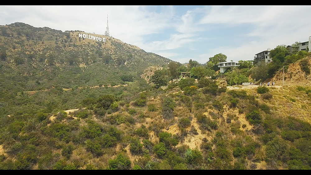 Areal shot of Hollywood sign in Hollywood Hills, Hollywood, Los Angeles, LA, California, United States of America, North America - 1276-939