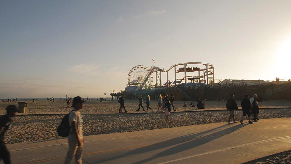View of Santa Monica Pier and beach, Santa Monica, Los Angeles, LA, California, United States of America, North America - 1276-941