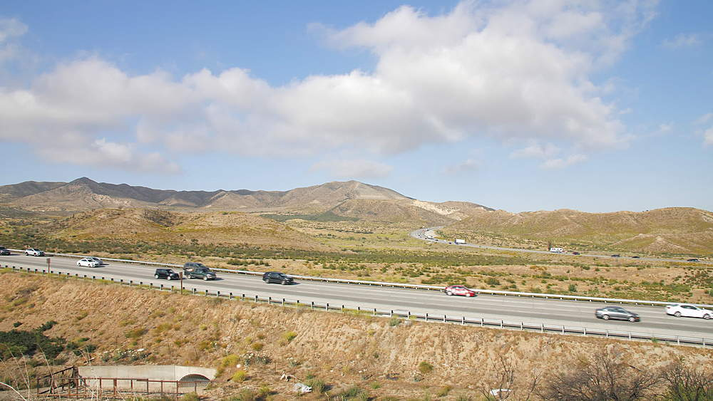View of traffic on Highway 15 near San Bernardino, Los Angeles, California, United States of America, North America