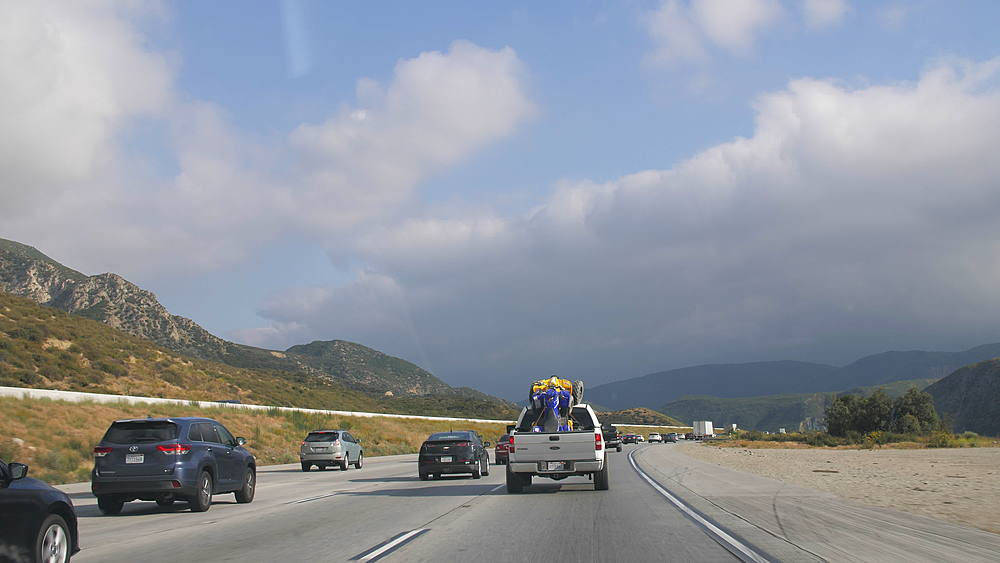 Travelling on Highway 15 near San Bernardino, Los Angeles, California, United States of America, North America