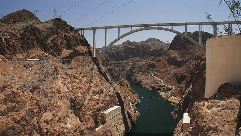 View of the wall of Hoover Dam, Nevada/Arizona border, USA, North America - 1276-961