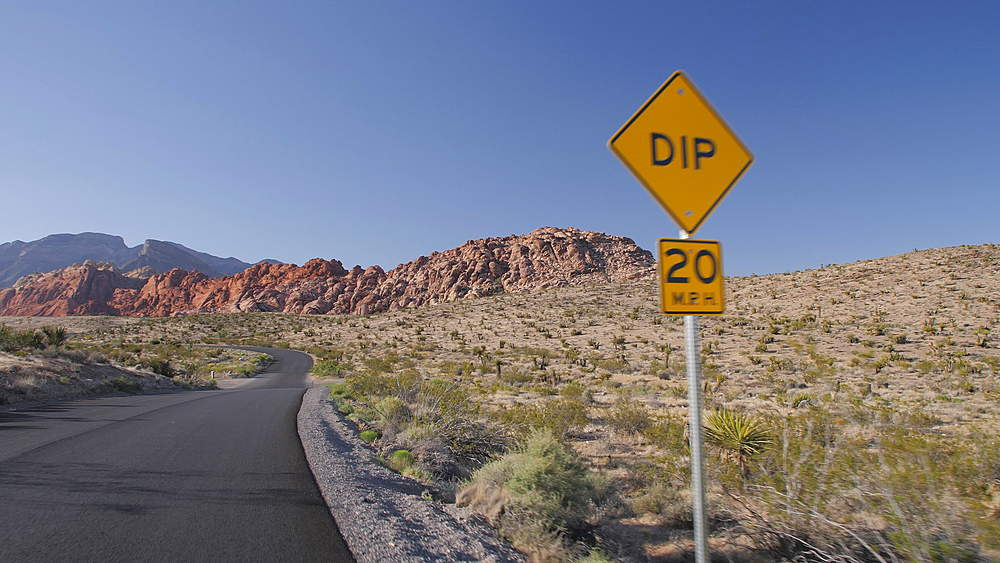 View from car in Red Rock Canyon National Conservation Area, Nevada, USA, North America - 1276-966