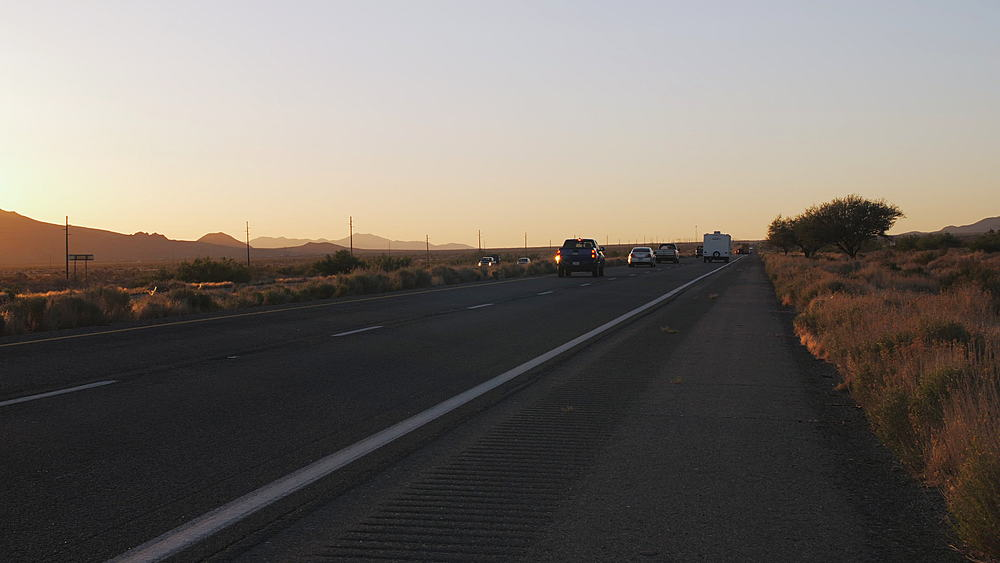Sunset over North 93 Highway near Kingman, Arizona, United States of America, North America - 1276-980