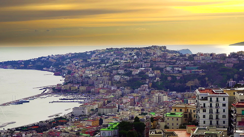 Evening view of Mergellina coastal section at sunset seen from Sant Elmo castle, Naples, Campania, Italy, Europe - 1278-101