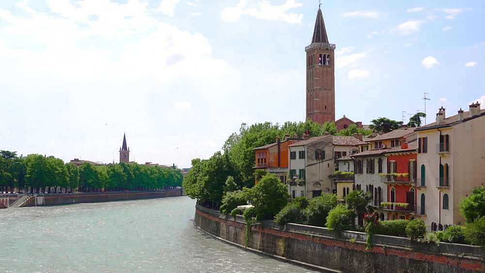 Traditional buildings and Santa Anastasia bell tower on the banks of the Adige River crossing the city, Verona, Veneto, Italy, Europe - 1278-138