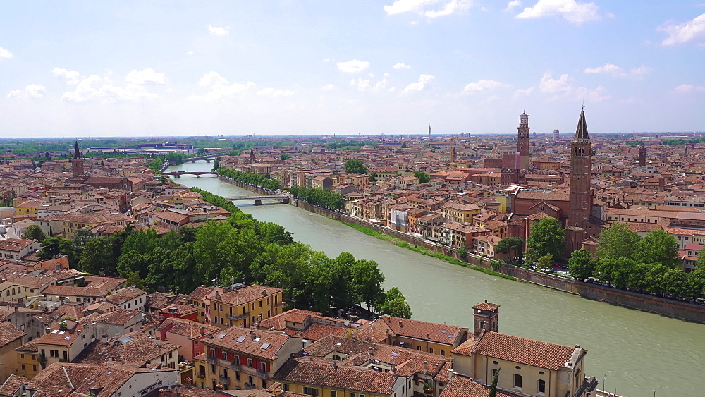 Panoramic view of bridges, traditional buildings and church bell towers on banks of River Adige, Verona, Veneto, Italy, Europe - 1278-139