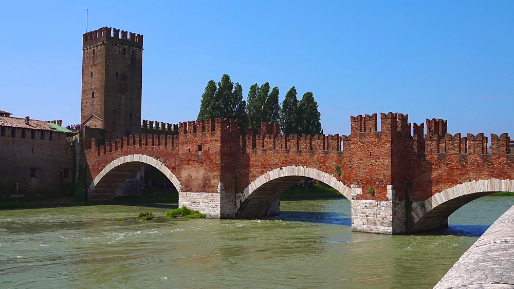 Ponte Castelvecchio day view, Castelvecchio brick and marble bridge with arches on the River Adige, Verona, Veneto, Italy, Europe - 1278-140