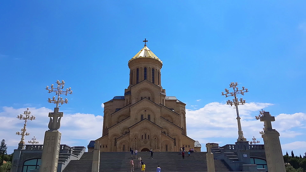 Holy Trinity Cathedral, day view of Tsminda Sameda Georgian Orthodox Church consecrated in 2004, Tbilisi, Georgia, Central Asia, Asia - 1278-144