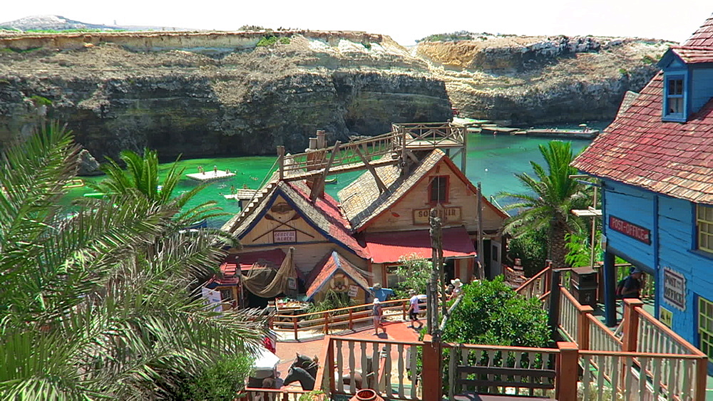 Houses on the main street of former 1980 film set, currently a theme park, Popeye Village, Malta, Mediterranean, Europe - 1278-150