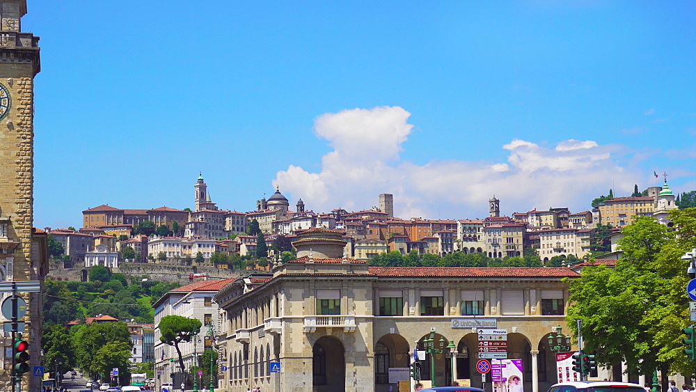 Bergamo, Italy city view. Day view of old town, Citta Alta viewed from the city center. - 1278-165