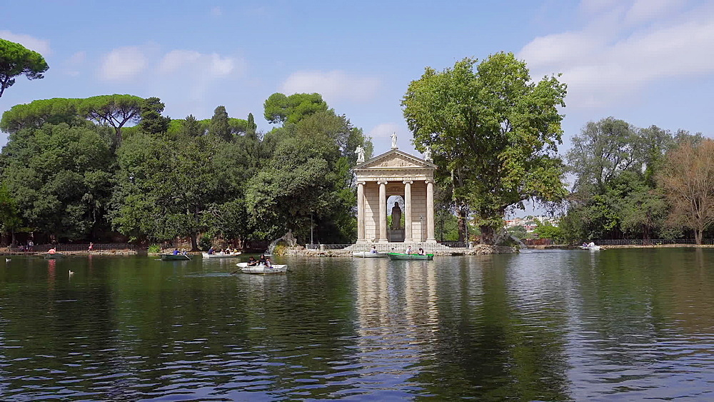 Temple of Asclepius on artificial lake at Villa Borghese gardens with visitors rowing on rented boats, Rome, Lazio, Italy, Europe - 1278-25