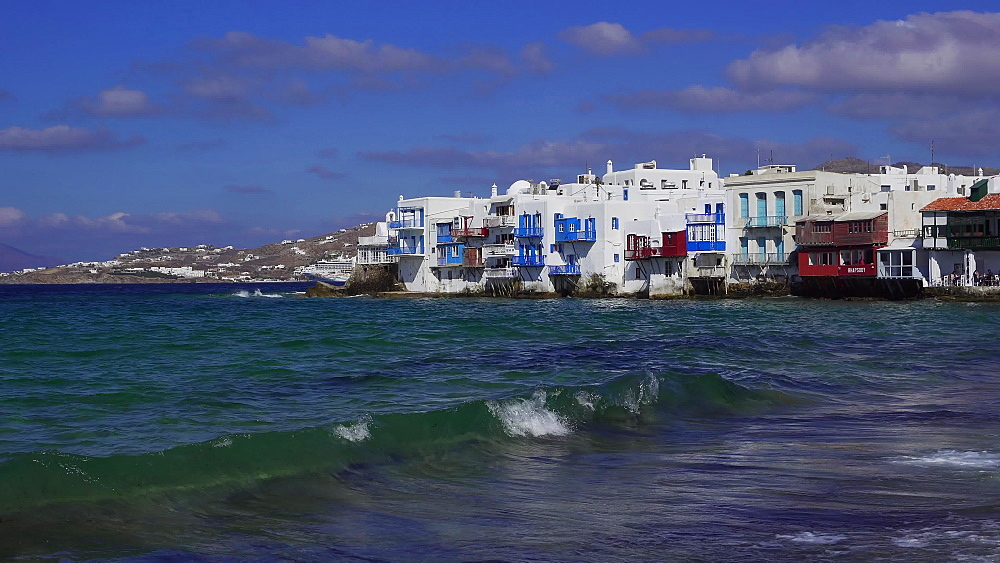 Day view of Little Venice (Aleykantra), Mykonos, Cyclades, Greek Islands, Greece, Europe - 1278-35