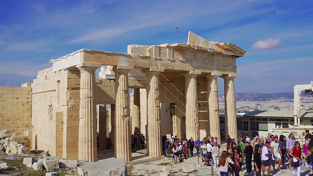 Day shot of visitors passing the Propylaea gateway to the Acropolis of Athens, UNESCO World Heritage Site, Athens, Greece, Europe - 1278-37