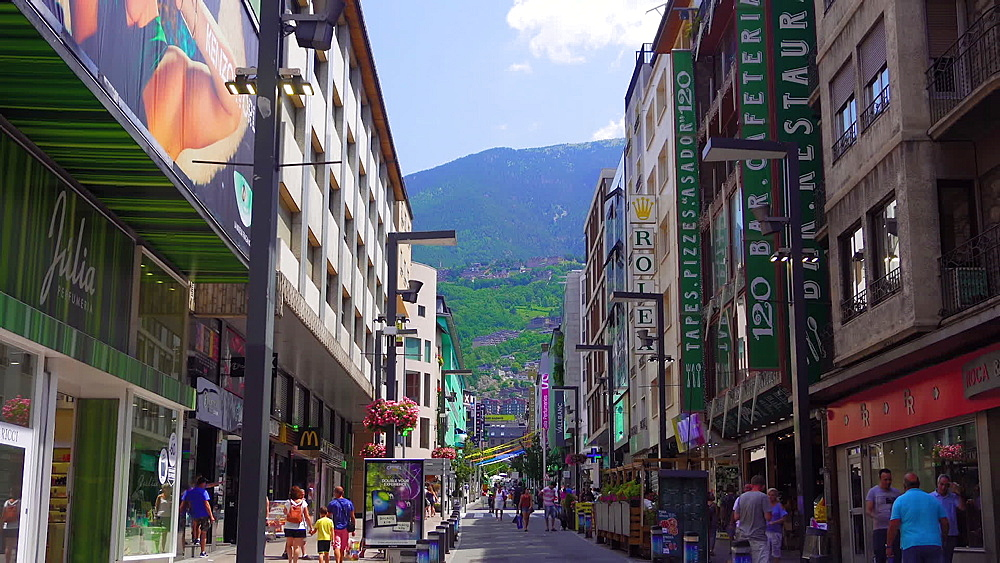 Andorra la Vella, Andorra market shops with crowd in the city center of the capital of the Principality of Andorra. - 1278-43