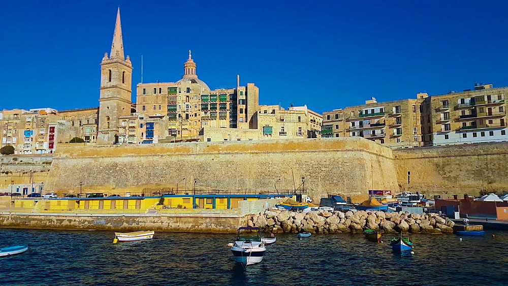 Valleta, Malta approaching boat day sea view of Saint Paul's Anglican Pro-Cathedral, rising to over 60 metres. - 1278-50
