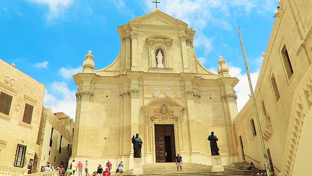 Gozo island, Malta day view of 18th-century baroque Roman Catholic Cathedral of the Assumption in the Cittadella of Victoria. - 1278-51