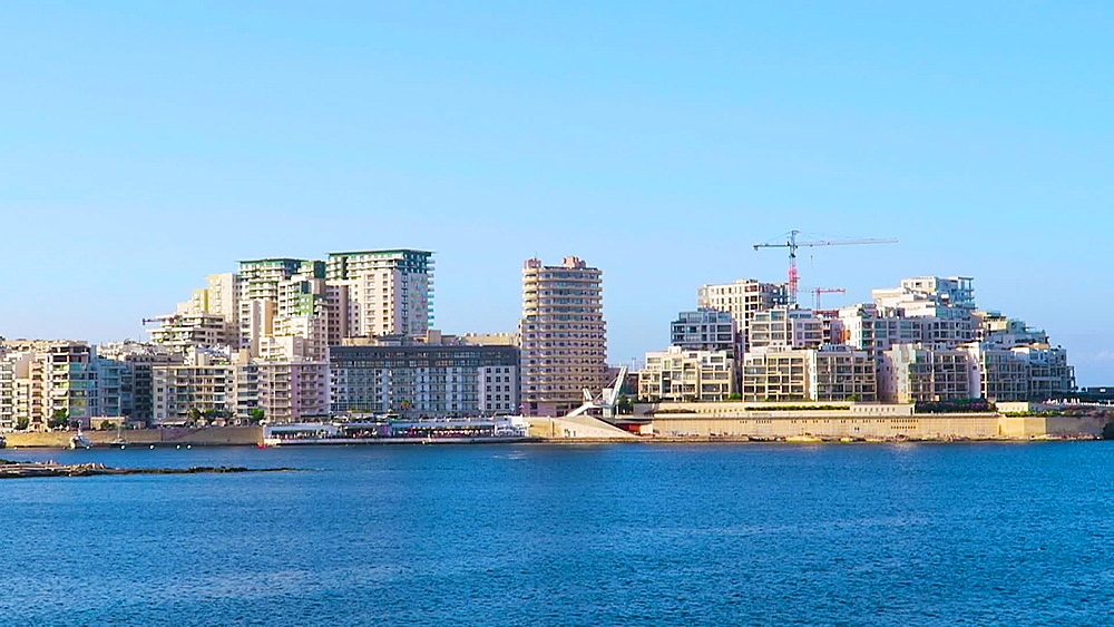 Valletta, Malta day view of Sliema with modern buildings rising over the waterfront promenade. - 1278-55