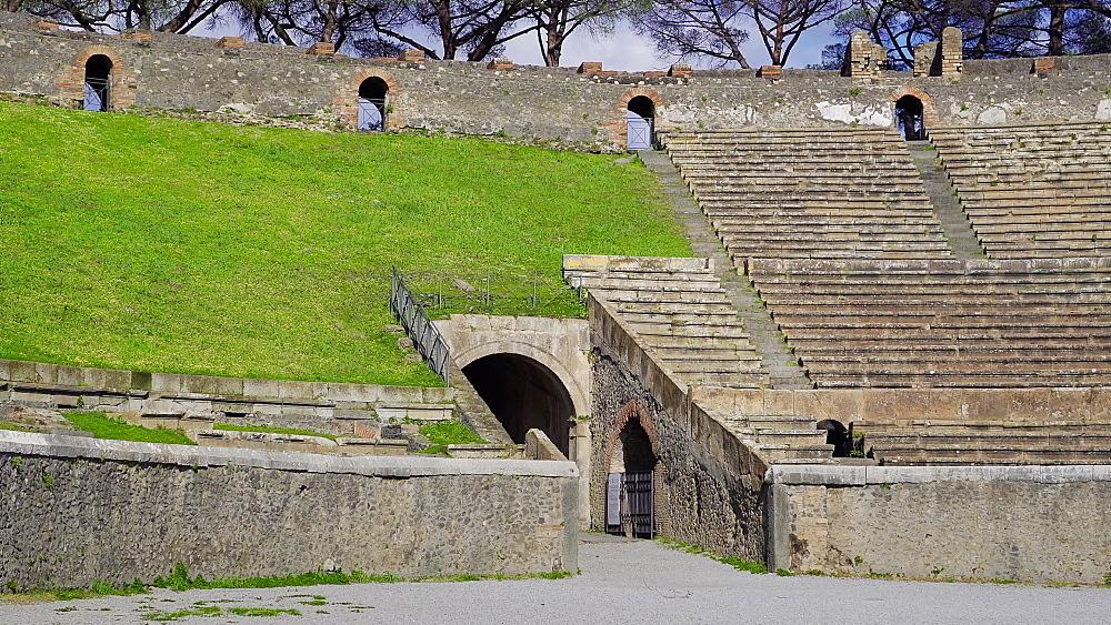 Pompeii, Italy amphitheatre elliptical structure interior. The ruins of stone built 20.000 capacity Roman Anfiteatro di Pompeii. - 1278-87