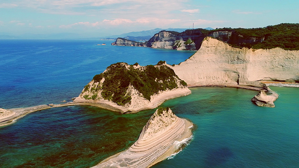 Aerial of Cape Drastis in the north of Corfu island, Ionian Islands, Greek Islands, Greece, Europe