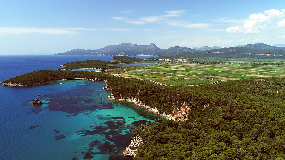 Aerial from Preveza, Fanari area, Parga, Alonaki Fanariou, Amoni Beach, Preveza, Epirus, Greece, Europe