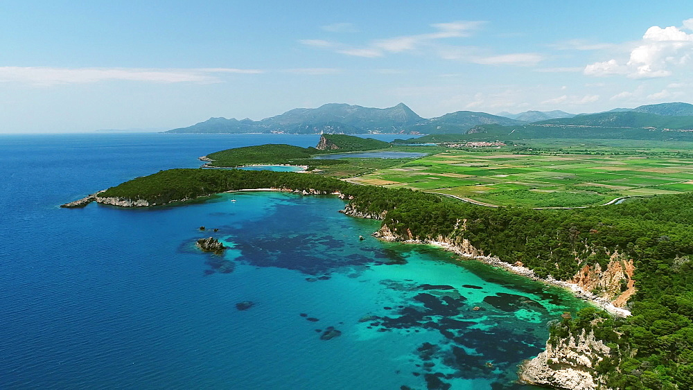 Aerial from Preveza, Fanari area, Parga, Alonaki Fanariou, Amoni Beach, Epirus, Greece, Europe