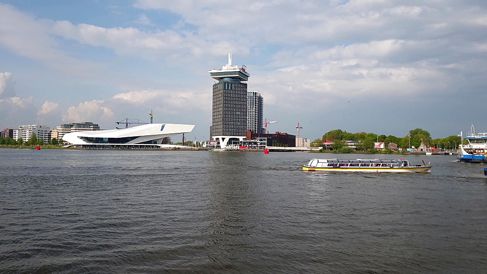 View of Overhoeks area on the other side of the river in front of Centraal, Amsterdam, North Holland, The Netherlands, Europe - 1300-393