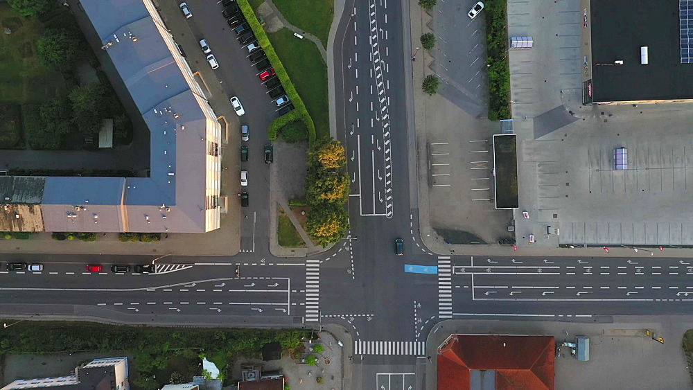 Aerial view of a crossing in Fredericia, Jutland, Denmark, Europe - 1300-396