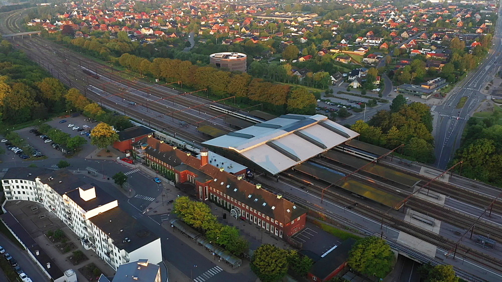 Aerial view of Fredericia by the train station early morning with fog, Fredericia, Jutland, Denmark, Europe - 1300-398