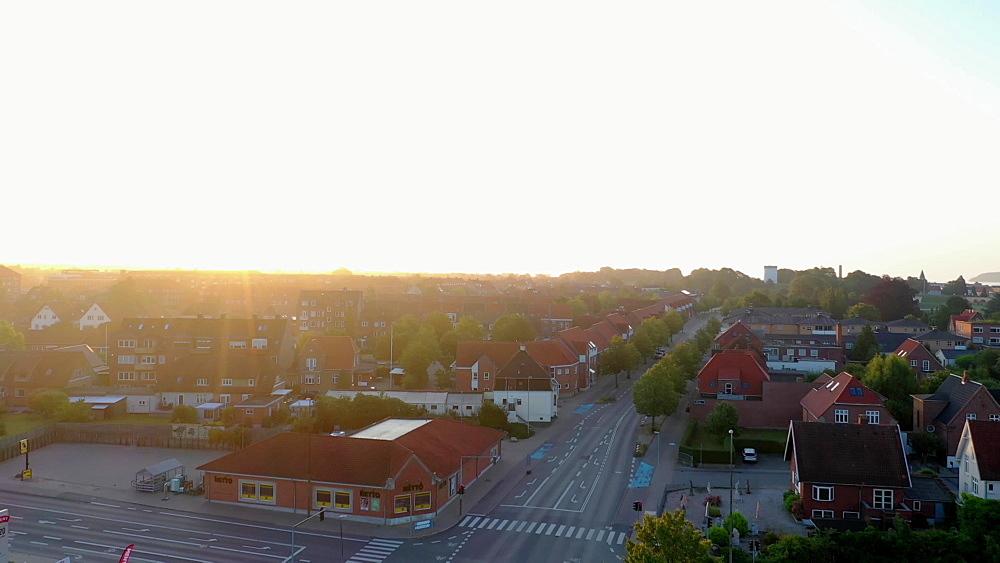 Aerial of Fredericia city at sunrise, Fredericia, Jutland, Denmark, Europe - 1300-399