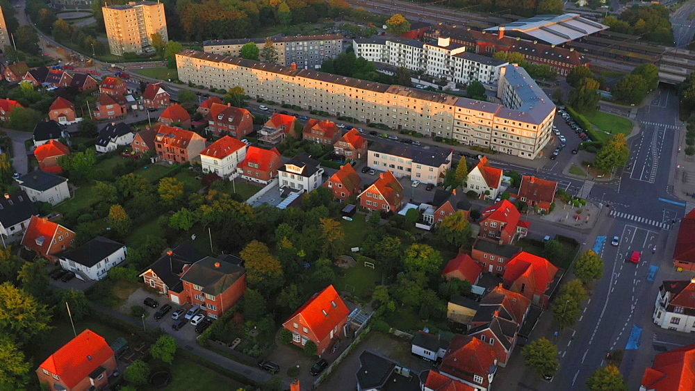 Aerial view of houses at Indre Ringvej and the Fredericia train station in the background, Fredericia, Jutland, Denmark, Europe - 1300-402
