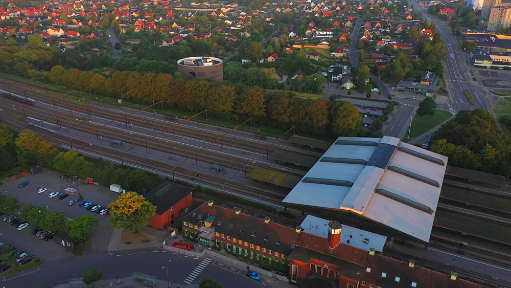 Aerial view of houses and the Fredericia train station and Trafiktarn Vest, Fredericia, Jutland, Denmark, Europe - 1300-403
