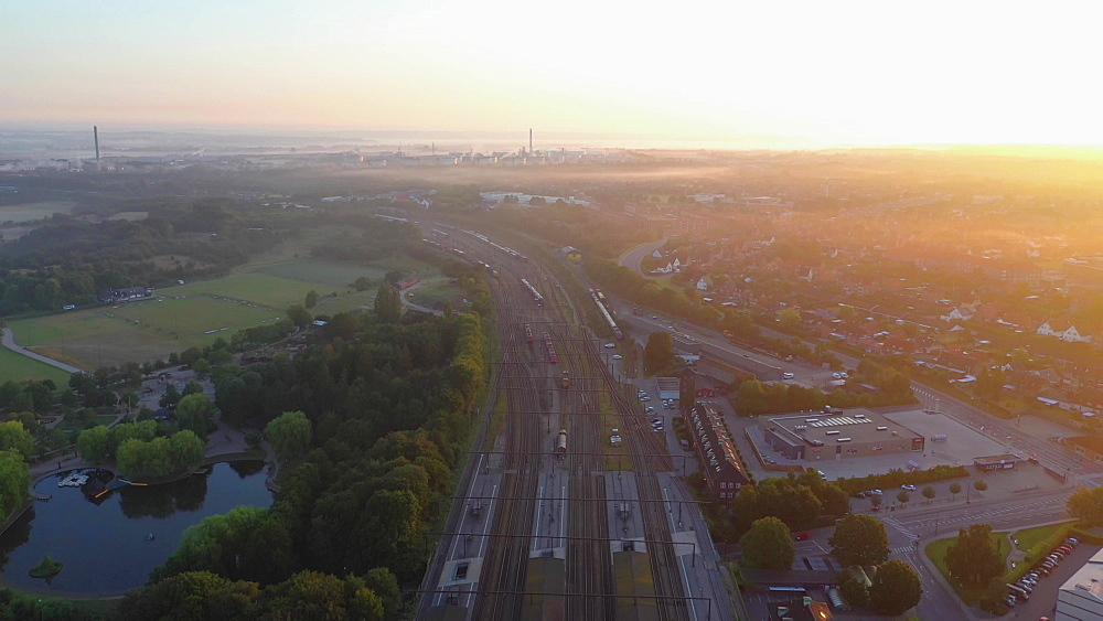 Aerial view of Fredericia by the train station early morning with fog, Fredericia, Jutland, Denmark, Europe - 1300-404