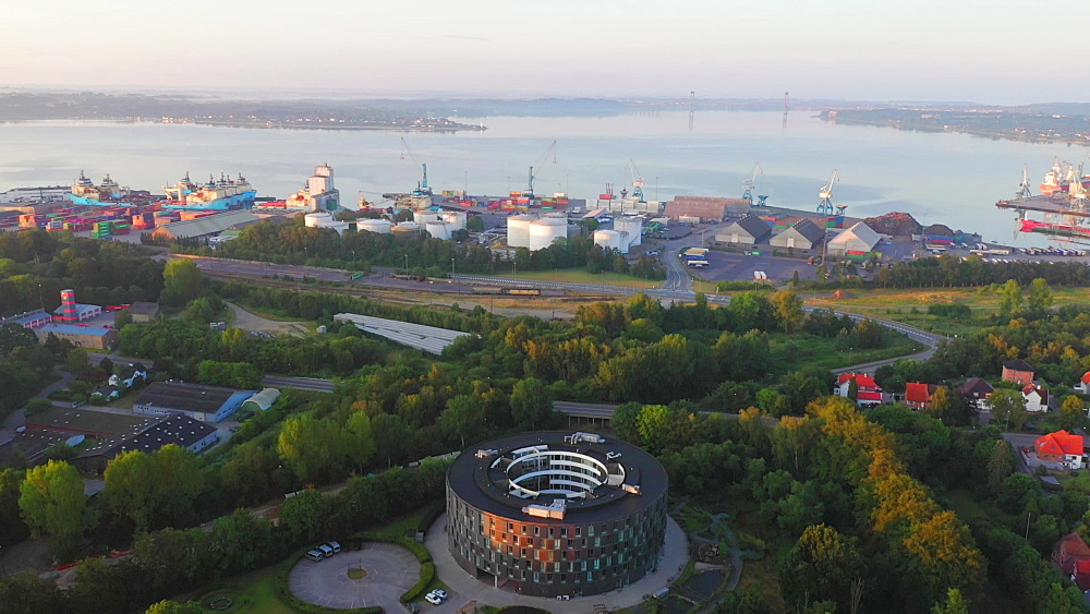 Aerial of Fredericia with Othello Plejecenter and the industrial harbor in the background, Fredericia, Jutland, Denmark, Europe - 1300-405
