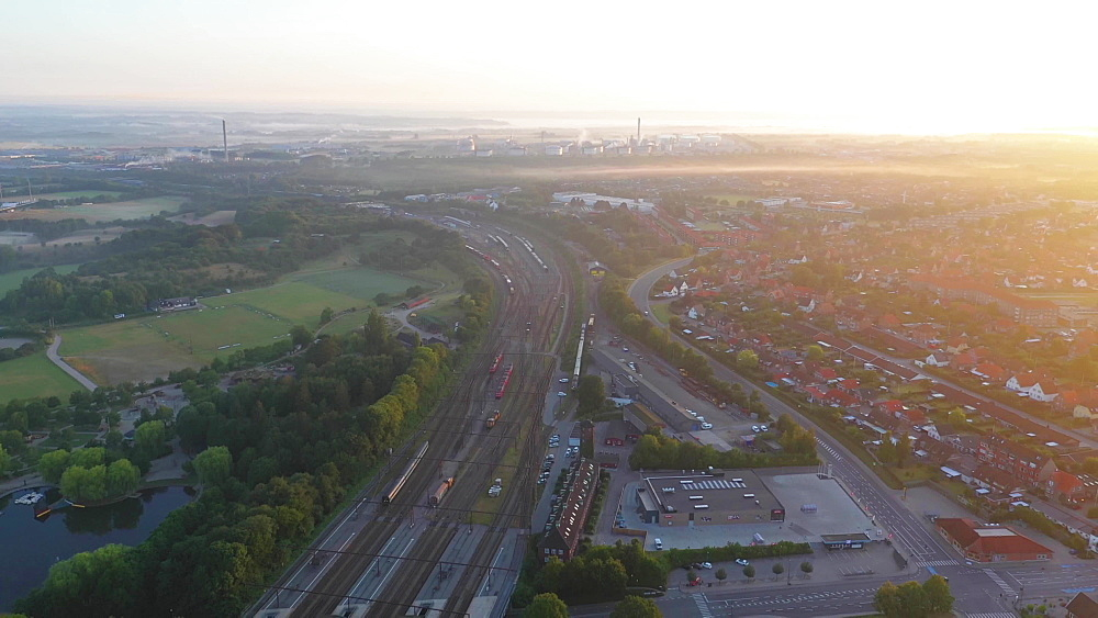 Aerial view of Fredericia by the train station early morning with fog, Fredericia, Jutland, Denmark, Europe - 1300-406